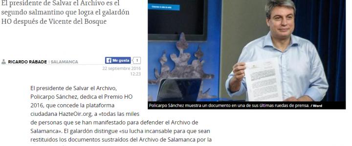 Policarpo Sánchez: Este premio es para todos los que defienden el Archivo