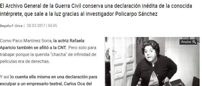 Descubierta en el Archivo de Salamanca documentación inédita de la actriz Rafaela Aparicio