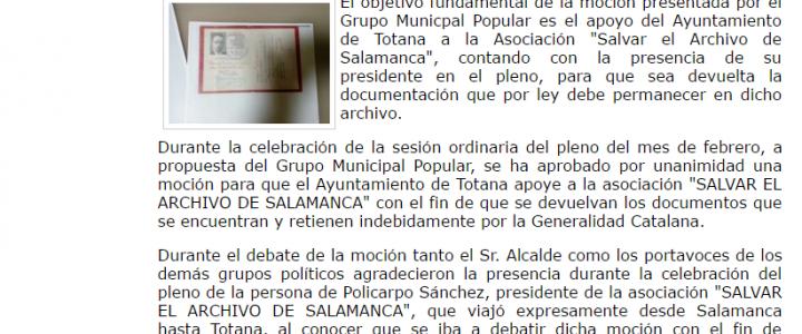 El Ayuntamiento de Totana (Murcia) aprueba por unanimidad una Moción para que la Generalitat de Cataluña devuelva los documentos que retiene indebidamente, pertenecientes al Archivo de Salamanca
