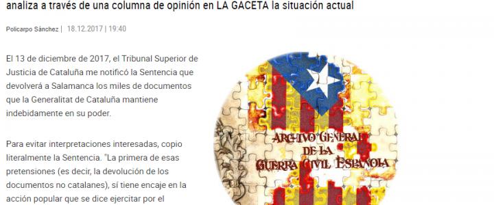 La Sentencia que devolverá el Archivo a Salamanca. Felicidades a Policarpo Sánchez por haberlo conseguido.